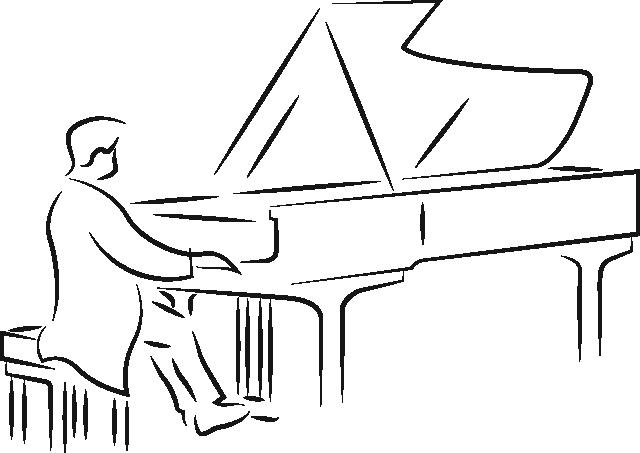 Illustration von spielendem Pianist am Flügel