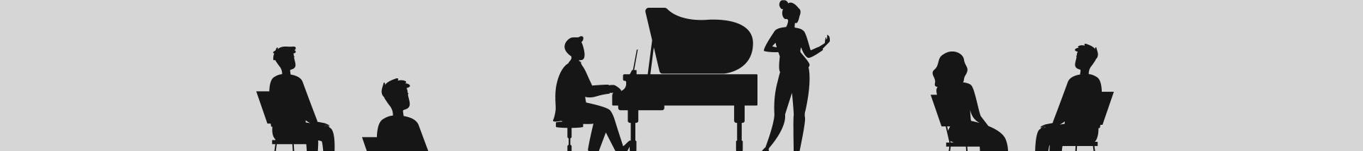 Scherenschnitt-Illustration von Enis-Engin Ülker am Klavier, daneben Nadja Niederberger und Publikum