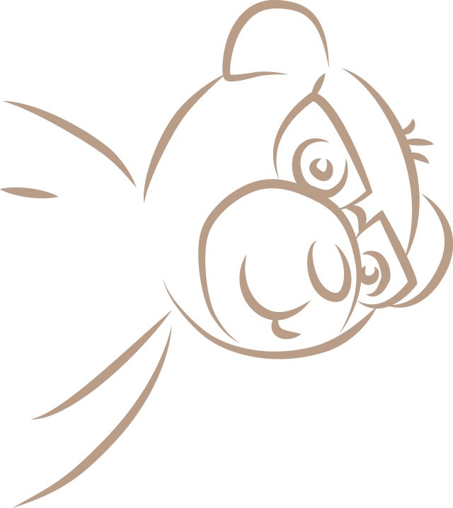 Illustration des Bärchen Nino, Maskottchen der Klavierschule Ulm