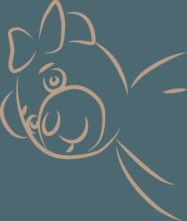 Illustration des Bärchen Pia, Maskottchen der Klavierschule Ulm